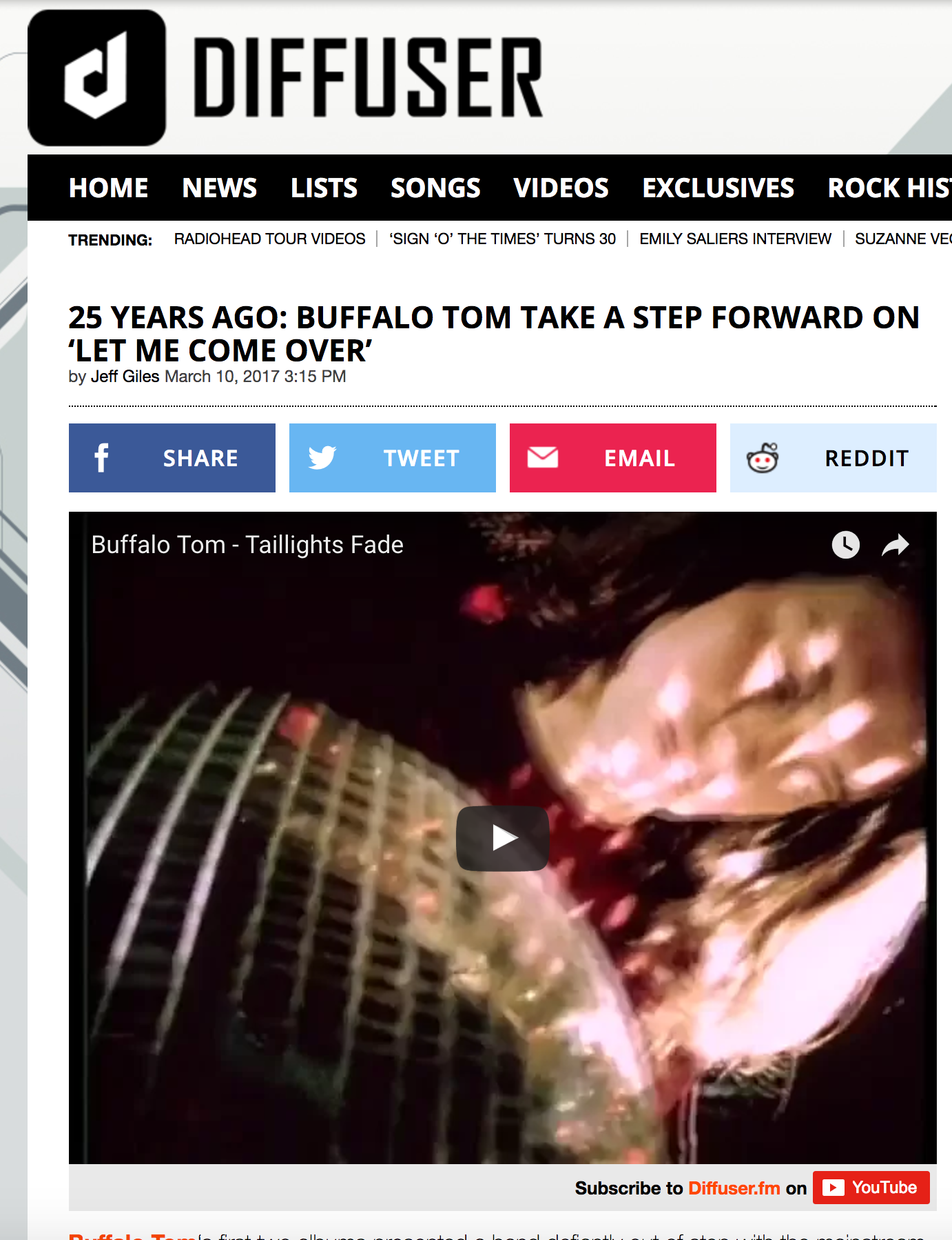 <b>Diffuser</b>: 25 Years Ago: Buffalo Tom Take a Step Forward on 'Let Me Come Over'