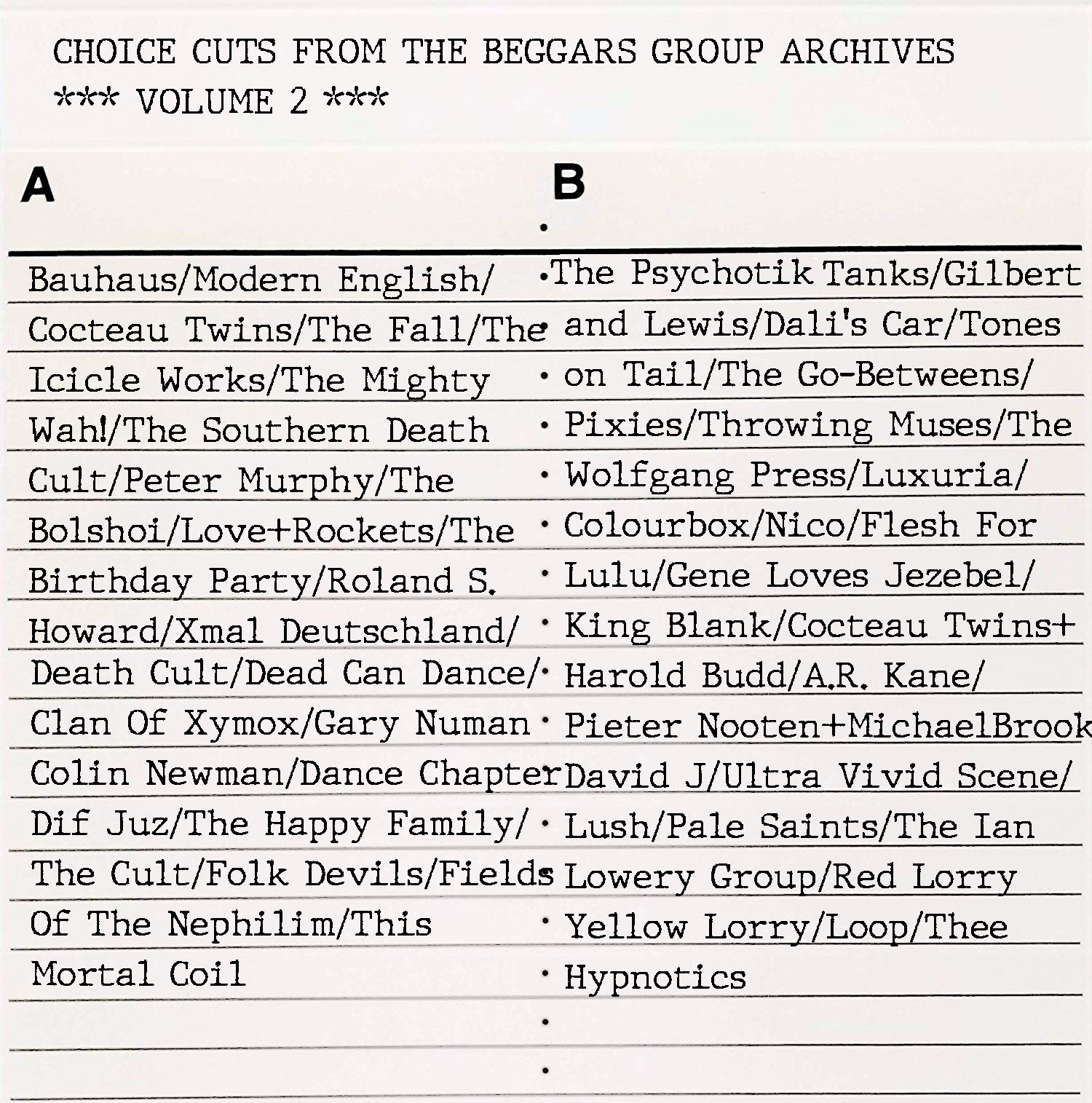 Choice Cuts From The Beggars Group Archives – Volume 2