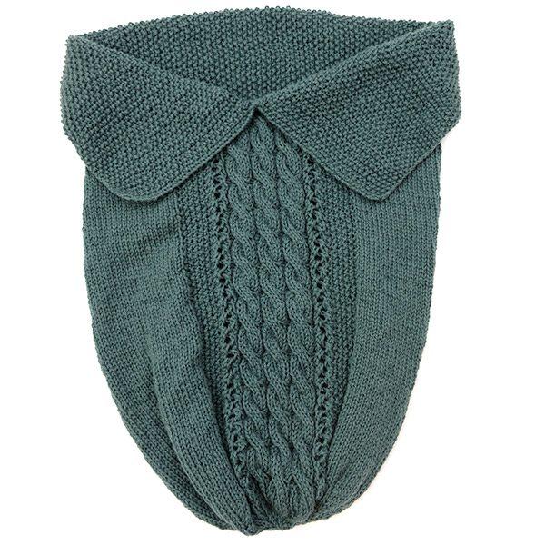 Babystrikk kosepose flette grågrønn
