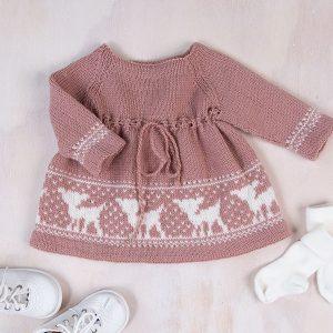 Bluum strikkekjole - Bambi-kjolen i Pure Eco Baby Wool Gammelrosa Strikk 0-3 mnd