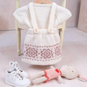 Bluum strikkeskjørt med seler og topp - Blomst i Pure Eco Baby Wool Natur Strikk 2-3 år