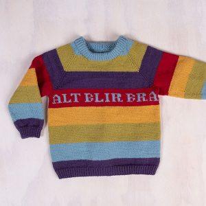 Bluum Regnbuegenser - gratis strikkeoppskrift