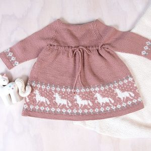 Bluum strikkekjole - Enhjørning- Pure Eco Baby Wool