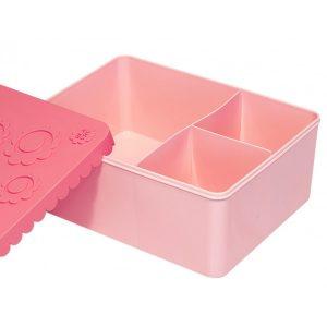 Matboks treroms - blomst (rosa)