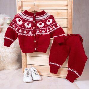 Bluum strikkesett - Billebæ kofte+bukse - Pure Eco Baby Wool