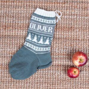 Bluum julestrømper med juletre og valgfrie navn