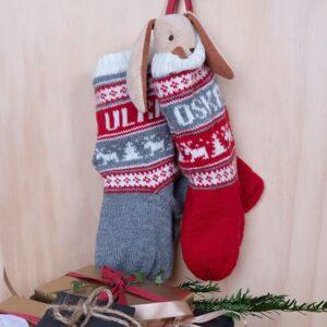 Bluum julestrømper med reinsdyr og valgfrie navn