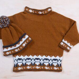 Bluum strikkegenser og lue med Pingviner i Pure Eco baby Wool