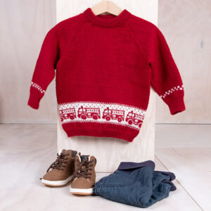 Bluum strikkegenser - Brannbil i Pure Eco baby Wool
