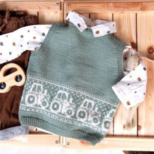 Bluum strikkevest - Traktor i Pure Eco Baby Wool