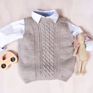 Bluum strikkevest - Flette i Pure Eco Baby Wool
