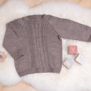 Bluum strikkegenser - Flette i Pure Eco Baby Wool