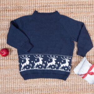 Bluum strikkegenser - Reinsdyr i Pure Eco Baby Wool