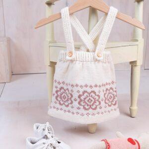 Bluum strikkeskjørt med seler og topp - Blomst i Pure Eco Baby Wool