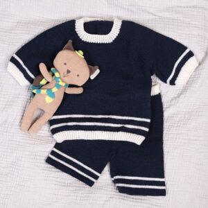 Bluum strikk - Matros sett m/shorts i Pure Eco Baby Wool