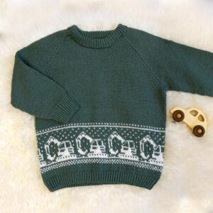 Bluum strikk - Gravemaskin-genseren i Pure Eco Baby Wool