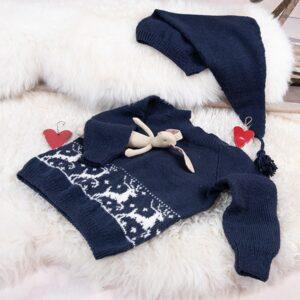 Bluum strikk - Reinsdyrgenser med nisselue i Pure Eco Baby Wool