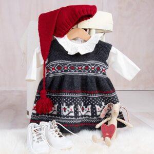 Bluum strikkekjole - Krone-stakken med nisselue i Pure Eco Baby Wool