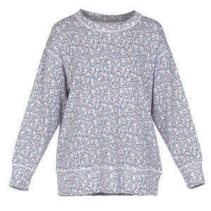 """FREJA sweater i mønster """"Mose"""" - blå"""