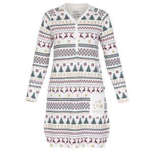 """STINA nattskjorte i mønster """"Julestrikk"""""""