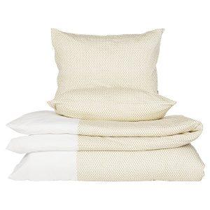 """AGNETE sengetøy dobbelt i mønster """"Krone"""" - gylden 200x220"""