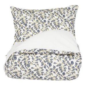 "AMANDUS sengetøy i mønster ""Løvfall"" - blå 140x200"