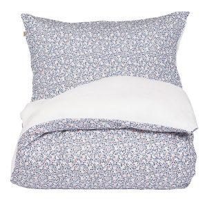 """AMANDUS sengetøy i mønster """"Mose"""" - blå 140x200"""