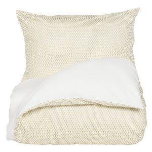 """AMANDUS sengetøy i mønster """"Krone"""" - gylden 140x200 2.0"""