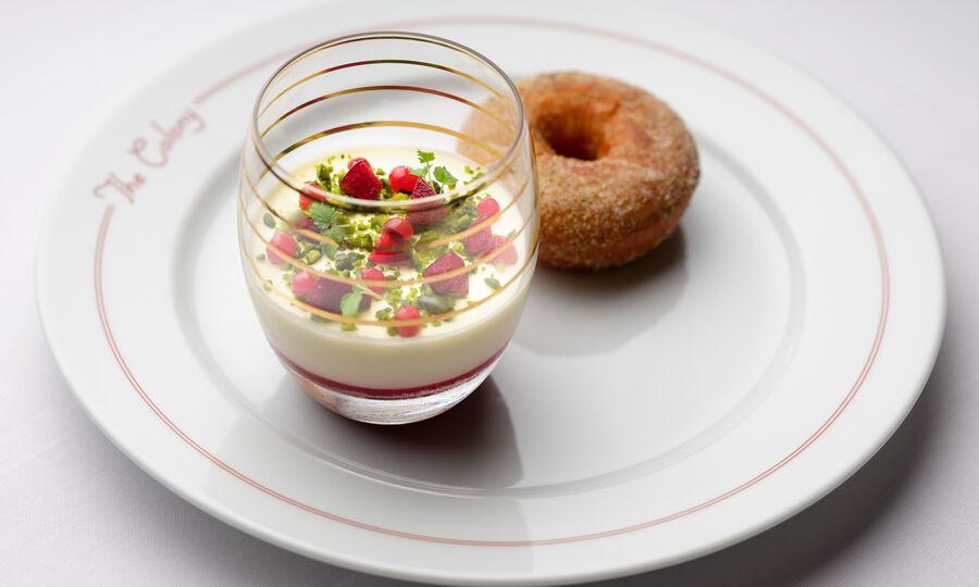 The Colony Grill Room Buttermilk Pannacotta and Warm Chamomile Doughnut