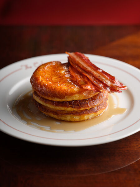 The Colony Grill Room Maple Syrup and Cured Bacon Pancakes