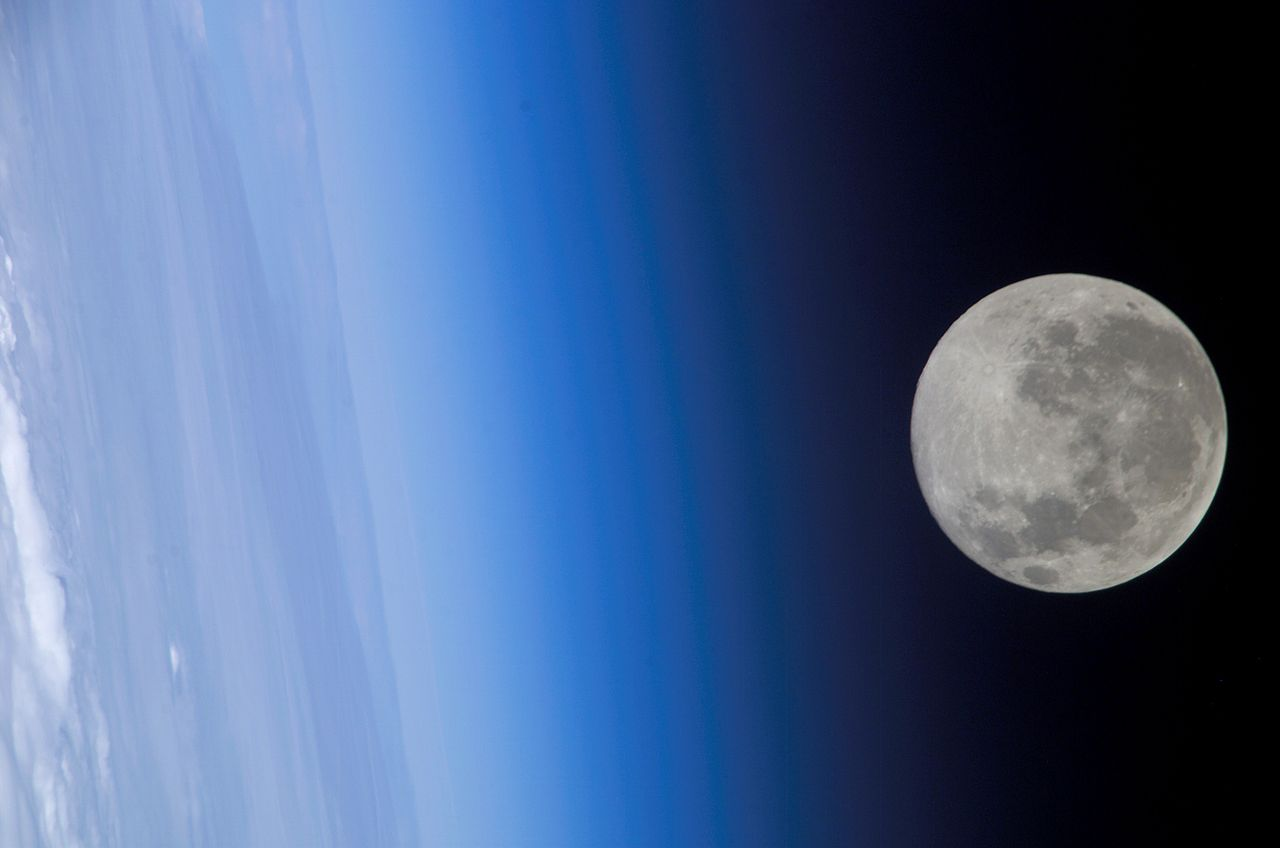 Photograph of the Moon in orbit around the Earth