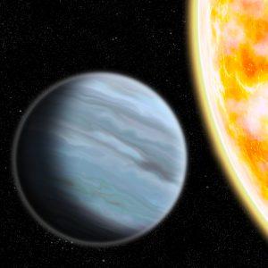 Artist's impression of KELT-11b orbiting its host star. Image credit: Walter Benjamin.