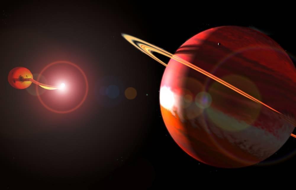 Artist's impression of planets orbiting binary star UZ Fornax