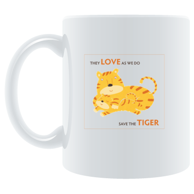 White Mug with Transparant Save the Tiger