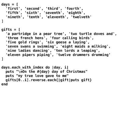 The 12 days of Christmas - Ruby