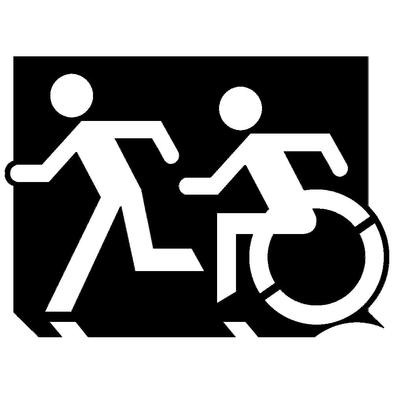 Accessible Means of Egress Icon (Running Man and Wheelie Man Left Hand) Wheelchair Exit Sign Design>