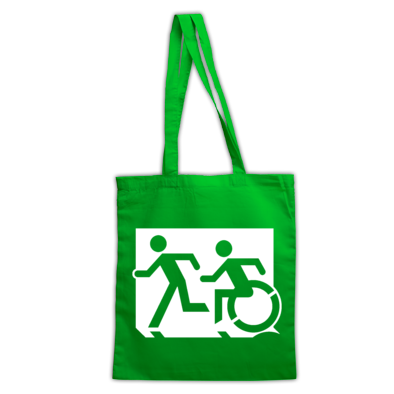 Accessible Means of Egress Icon (Running Man and Wheelie Man Left Hand) Wheelchair Exit Sign Design