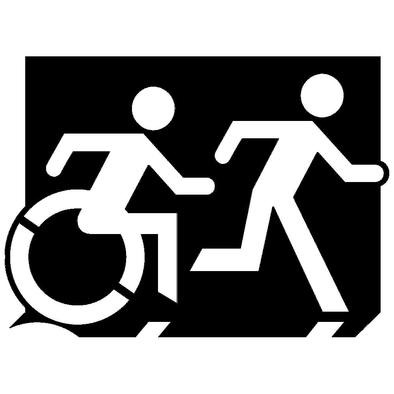 Accessible Means of Egress Icon (Running Man and Wheelie Man Right Hand) Wheelchair Exit Sign Design>