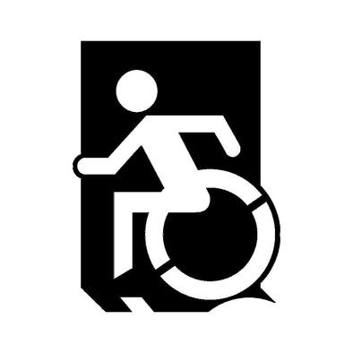 Accessible Means of Egress Icon (Wheelie Man Left Hand) Wheelchair Exit Sign Design>