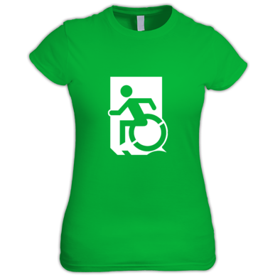 Accessible Means of Egress Icon (Wheelie Man Left Hand) Wheelchair Exit Sign Design