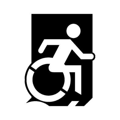 Accessible Means of Egress Icon (Wheelie Man Right Hand) Wheelchair Exit Sign Design>
