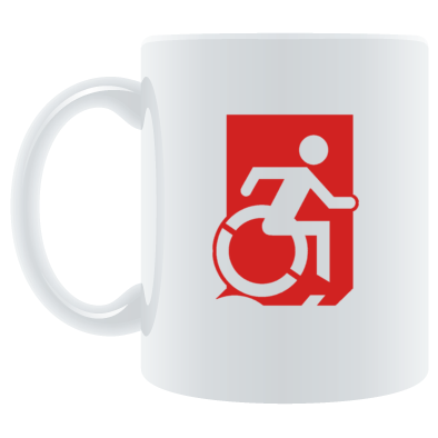 Accessible Means of Egress Icon (Wheelie Man Right Hand) Wheelchair Exit Sign Design