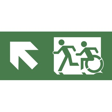 Emergency Exit Sign with Accessible Means of Egress Icon and Running Man, part of the Accessible Exit Sign Project>