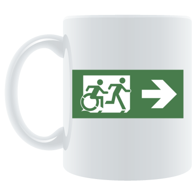 Emergency Exit Sign with Accessible Means of Egress Icon and Running Man, part of the Accessible Exit Sign Project