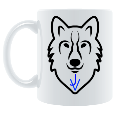 coffie mug with the JV wolf logo