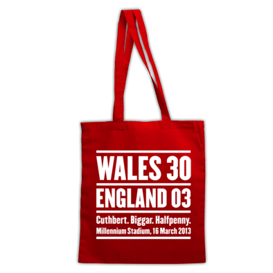Wales 30 England 3. Six Nations Rugby Union - Tote Bag