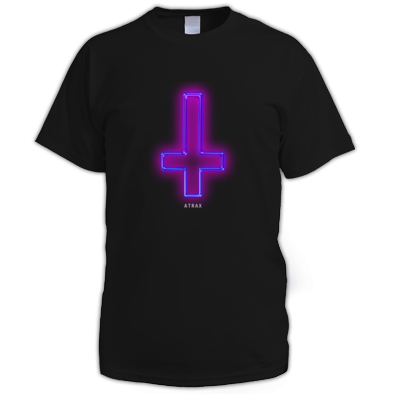 """NEON CROSS - ATRAX"" / WOMENS / GIRLS / MENS UNISEX TSHIRT (100% COTTON) ATRAX ALT.CLOTHING UK"