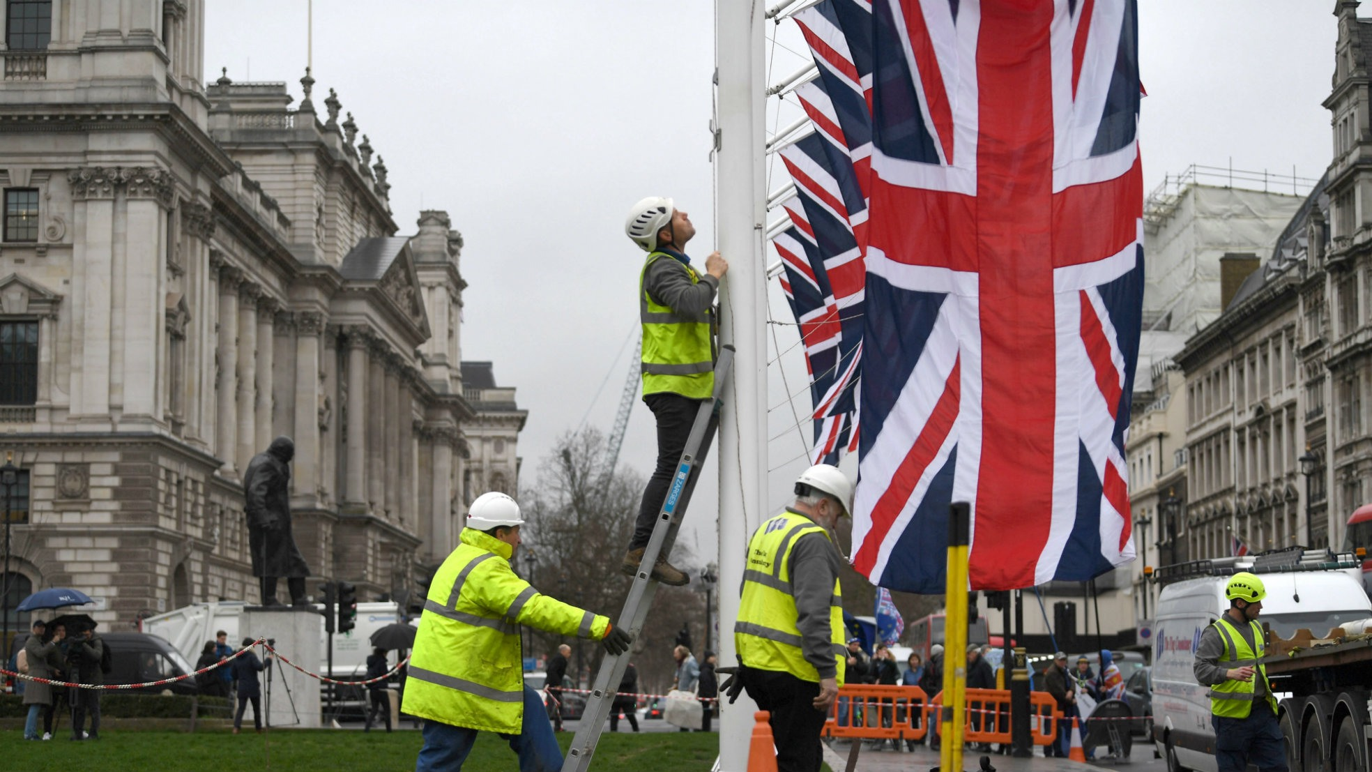 Brexit Day vlaggenophangen