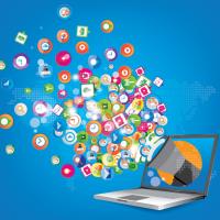 Digitaal laptop computer social media