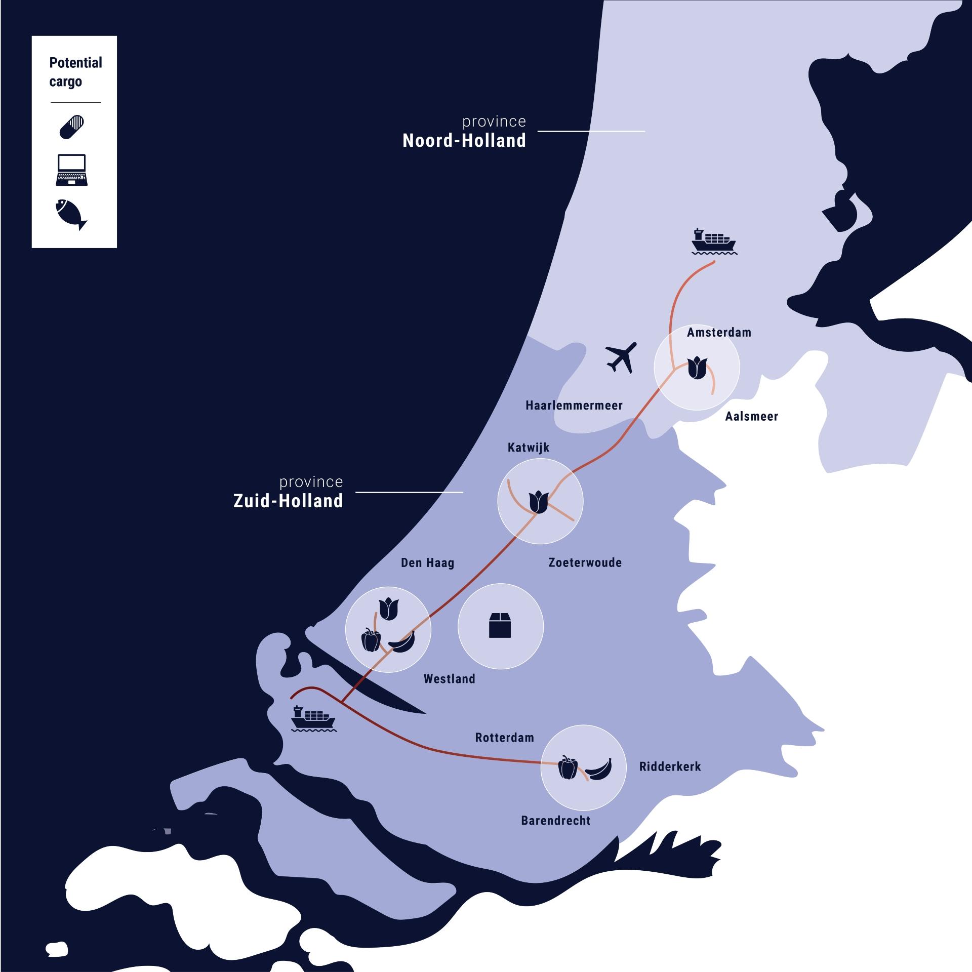 Cargo route noord zuid holland